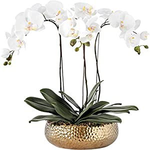 Acher Orchids Artificial Flowers Phalaenopsis Flower with Ceramics Vase Fake Silk Flower Decoration for Table Home Office Wedding Party Dinning Table Centerpiece Decor, White