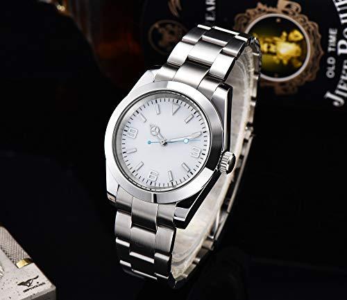 CHASO Herrenuhr Polierte Mode Automatikuhr Steriles Weißes Zifferblatt 39Mm Mechanisches Stahlgehäuse Armband Mineralglas Gl3