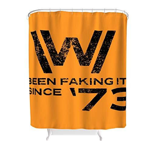 YxueSond West-World Faking It Duschvorhänge Polyester Stoff lustig Badezimmer Dekor Vorhang mit Haken, Polyester, weiß, 120x200cm