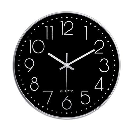 Foxtop 30 cm Modern Quartz Lautlos Wanduhr Schleichende Sekunde ohne Ticken (Schwarzes Zifferblatt, Silber Rahmen, 12 Zoll, Arabisch Ziffer)