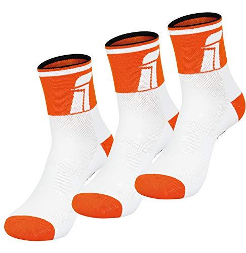 Fast Cycles - Confezione da 3 paia di calzini traspiranti per ciclismo e sneaker, per uomo e donna, per mountain bike, spinning, fitness, tennis, jogging e corsa, colore: arancione/bianco