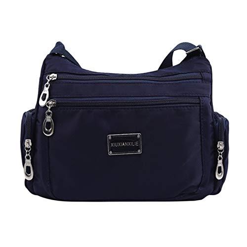 Youpin Fashion Women Shoulder Messenger Bag Nylon Oxford Lightweight Waterproof Zipper Package Large Capacity Travel Crossbody Bag (Color : 03 Dark blue)