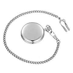 Vintage Smooth Quartz Pocket Watch Classic Fob Watch with Short Chain for Men Women on Birthday Anniversary Day Christmas Fathers Day (silver) #2
