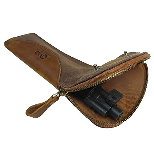 Padded Gun Bolt Case Cover for Rem 700, Remington 700 5R,Real Leather and Waxed Canvas Rifle Carrier Pouch(Coffee)