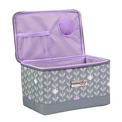 Everything Mary Sewing Kit Organizer Box, Purple - Supplies Storage Basket for Supplies and Accessories - Organization for Thread, Needles, Notions & Scissors - Portable Craft Caddy