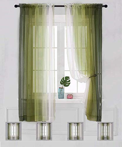 """Sheer Curtain Ombre Drapes 2 Panels 63 inch Long Voile Rod Pocket Bedroom Living Room 72 84 96 inches Long (Green, 52""""x72"""")"""
