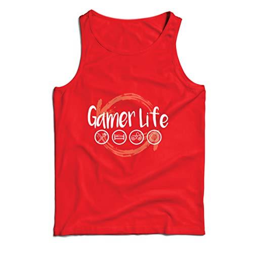 lepni.me Camisetas de Tirantes para Hombre Vida de Jugador Regalo para el Jugador Geek (Medium Rojo Multicolor)