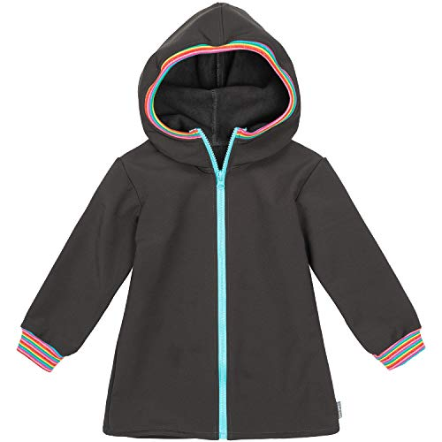 "Lilakind"" Kinder Jacke Softshell Kapuze lang Anorak Schwarz Multicolor Uni Streifen Gr. 134/140 - Made in Germany"
