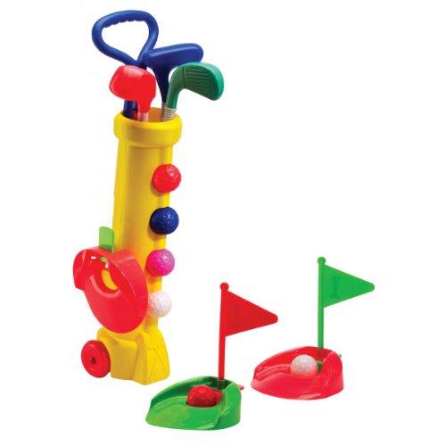 Silverline Mini-Golf-Set für Kinder ab 3 Jahren - Trolley-Bag + Schläger + Bälle + Löcher mit Fähnchen (Gelbes Bag