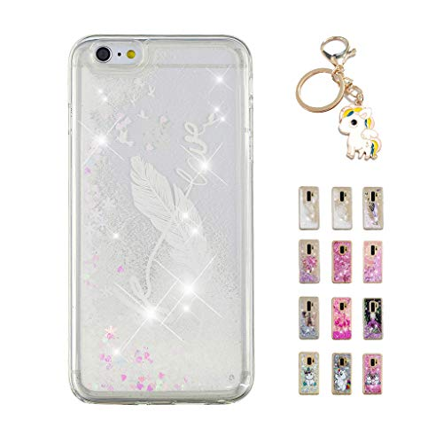 Kawaii-Shop Funda iPhone 6S Plus 6 Plus Brillo líquido, Cute Frase Blanca con Tinta y Pluma TPU Silicone Case Transparente Glitter Resistente Cover +Llavero Unicornio