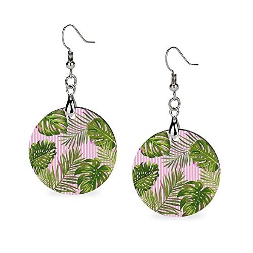 Pendientes de madera, pendientes redondos, pendientes colgantes de personalidad para niñas, hojas tropicales de palma, sin costuras, patrón de acuarela