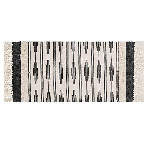 U'Artlines Teppiche aus Baumwolle Maschinenwaschbare mit Quaste Gewebte Baumwolle Wurf Teppiche Läufer für Küche, Wohnzimmer, Schlafzimmer, Waschküche, Eingangsbereich(60 * 130 Grau)