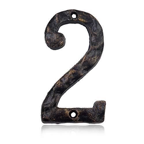 Hausnummern aus massivem Gusseisen, 15,2 cm, einzigartige Hammeroptik mit individueller unregelmäßiger Handarbeit, antikes Messing-Finish, Number 2