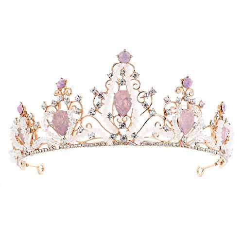 MoGist Hochzeit Krone Mode Rattanform rosa Strass Krone Braut Tiara Strass Haarreifen Prinzessin Diadem für Festzüge Hochzeit