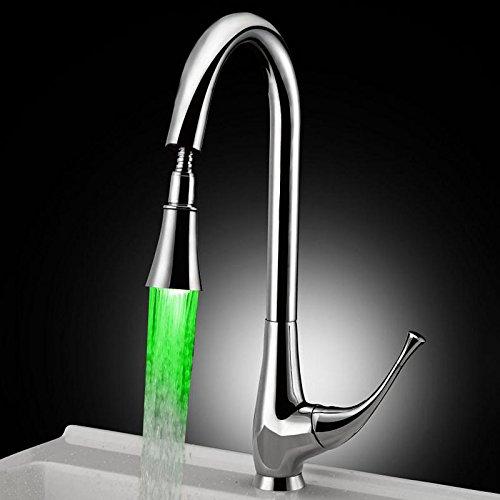Maifeini - Luz de control de temperatura para grifo de lavabo giratorio de cocina, grifo de agua de la generación de potencia