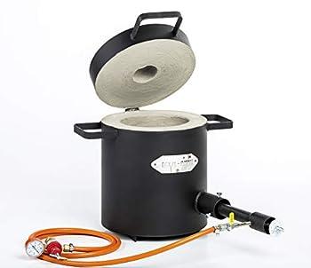 FB2M - 10kg Gas Metal Melting Furnace   with 1 DFC  180,000 BTU  Burner   Silver Copper Aluminum Brass Bronze   Premium