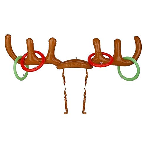 Hi Collie Party Toss Game, Inflatable Reindeer Antler Hat with Rings for Family Kids Office Xmas Fun Games
