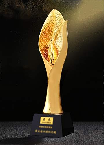 Aangepaste Trofee Leven Blad Vergulde Hars Trofee Productie Ontwerp Lettering Bedrijf Jaarlijkse Meeting Prijs Gift