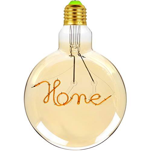 Tianfan LED-Glühbirne, Vintage-Leuchtmittel, Edison-Leuchtmittel, 4 W, Motiv Love/Home, rund, 220 / 240 V, E27 Home