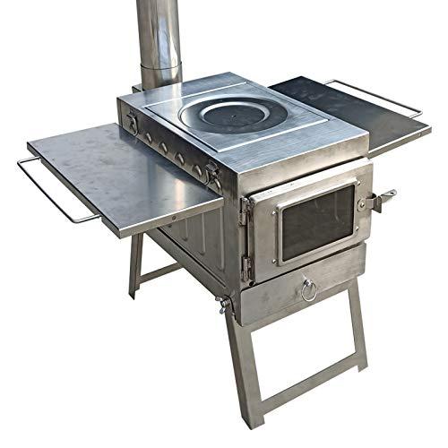 SEOCOM Estufa De Leña para Cocinar Y Calentar Quema Portátil, Interior Y Exterior Carpa/Estufas Caseras Estufa De Leña/Pellets Quema - Emergencia/Normal