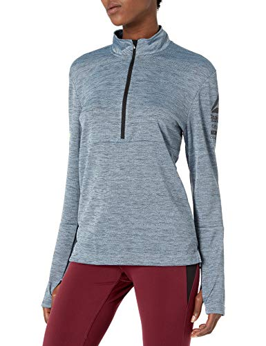 Reebok Damen One Serie Long Sleeve 1/2 Zip Hoodie, Damen, Gable Grey S-R