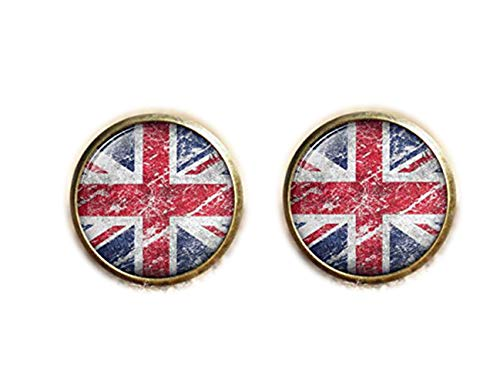 Bloody devil Manschettenknöpfe, Handarbeitskunst, rustikale England-Flagge, Manschettenknöpfe mit englischer Flagge, Manschettenknöpfe im Vintage-Stil