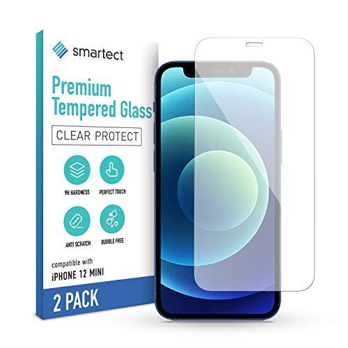 smartect Cristal Templado para Móvil Apple iPhone 12 mini [2 Unidades] - Protector de pantalla 9H - Diseño ultrafino - Instalación sin burbujas - Anti-huella