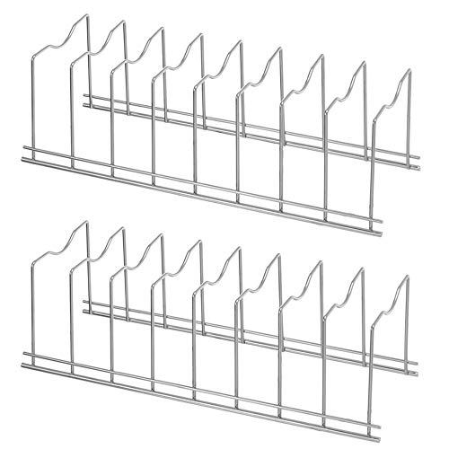 SANNO Pot Lid Holder Pan Lid Organizer Rack Cupboard Organizer Rack, Kitchen Organizer Rack for Pot Lids, Plates, Cutting Boards, Bakeware, Cooling Rack, Serving Trays, Stainless Steel, Pack of 2