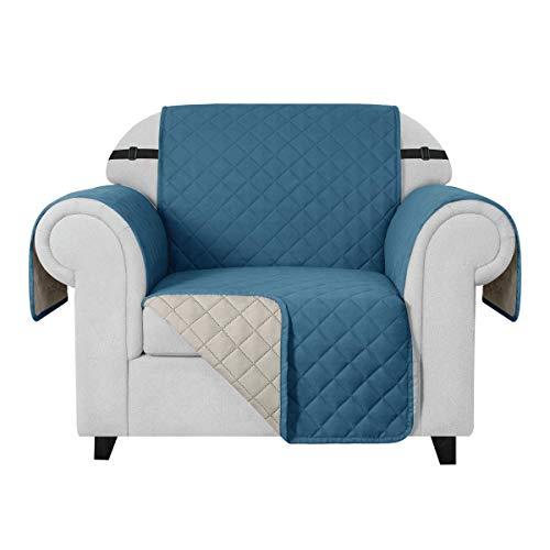 CHUN YI Funda impermeable para sofá de doble cara, protector de sofá para salón (1 plaza), color turquesa