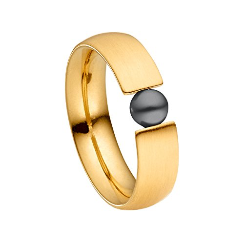 Heideman Ring Damen aus Edelstahl Gold farbend matt Damenring für Frauen mit Swarovski Perle grau rund 6mm