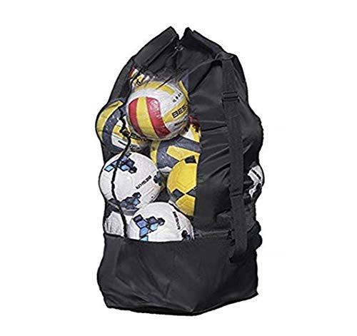 Extra Large Mesh Ball Bag Waterproof Equipment Duffel Bag Heavy Duty Net Ball Shoulder Bag Basketball Volleyball Soccer Rug Ball Football Carrying Bag Tote Storage Sack with Drawstring for 10-15 Balls