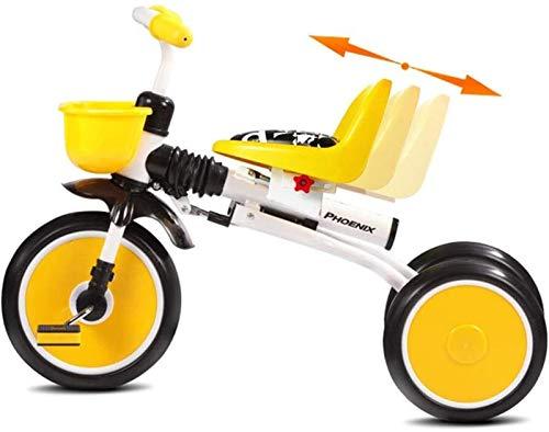 GYF Triciclo de ocio y fitness para niños, bicicleta ligera plegable para bebés de 2 a 5 años, límite de dirección seguro de 30 ° en manillares, asiento ajustable para pies y pies