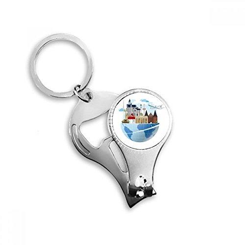 DIYthinker Landmark Global Travel Journey Duitsland Vliegtuig Sleutelhanger Ring Teen Nagel Clipper Snijder Schaar Gereedschap Kit Flesopener Gift