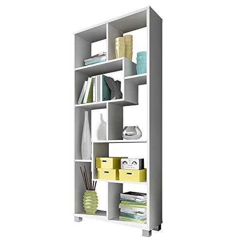 SelectionHome Estantería Multiposición, Librería para Salón o Oficina, Modelo Deluxe, Color Blanco Mate, Medidas: 68,5 cm (Ancho) x 161 cm (Alto) x 25 cm (Fondo)