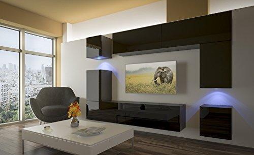Home Direct PRAG N5, Modernes Wohnzimmer, Wohnwände, Wohnschränke, Schrankwand (Schwarz Matt Base/Schwarz HG Front (HG20), LED blau)