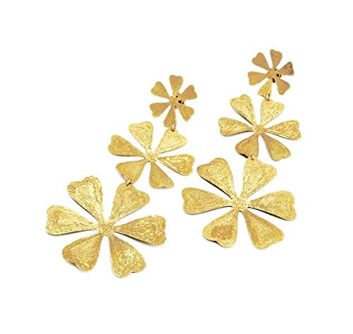 Flower Earrings in Sterling Silver 925% Gold Plated 750% Stefano Patriarchi OR156