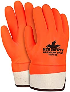 MCR Safety 6521SCO Double Dipped PVC Foam Lined Sandy Finish Men's GlovesSize Large 12 Pair