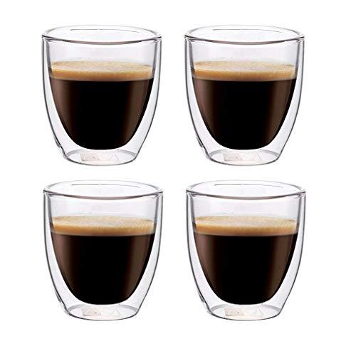 Maxxo Doppelwandige Gläser Espresso Set 4X 80 ml Kaffee Thermogläser mit Schwebe-Effekt beständige Kaffeegläser