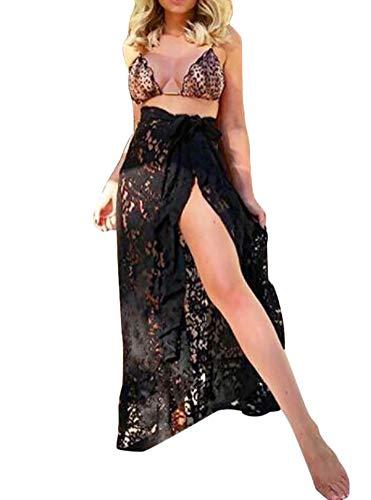 CiKiXZ Damen Spitzen Strandkleid Transparent Bikini Cover Up Badeanzug Bedecken Pareos Sexy Stillvoller Strand Wickelrock Strandrock Lang (Schwarz, Einheitsgröße)