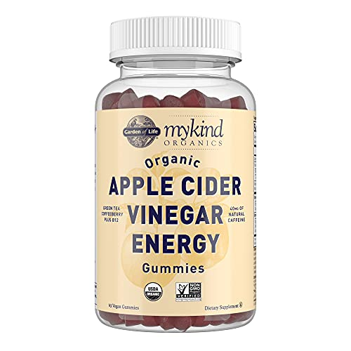 Apple Cider Vinegar Energy Gummies by Garden of Life mykind Organics - USDA Organic ACV Gummy Vitamins for Energy with Vitamin B12, Coffeeberry, Green Tea - 63 Vegan Gummies for Mental Focus, Clarity