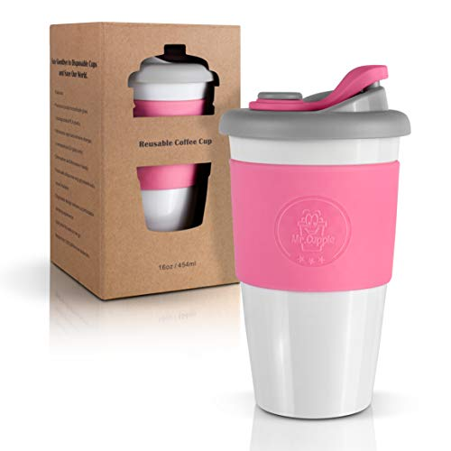 Mr.Cuppie Reusable Coffee Cup, Sustainable Travel Coffee Mug with Lid and Silicone Sleeve, ToGo Portable Drinking Cup, Dishwasher and Microwave Safe, 16oz (Soft Rose, 16oz)