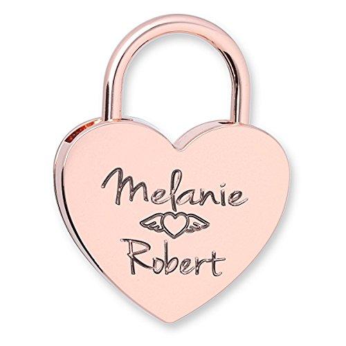 Liebesschloss Herz rosé-gold mit Wunsch-Gravur die Geschenkidee zur Verlobung Hochzeit oder Geburtstag