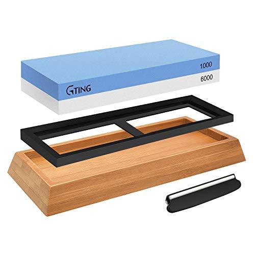 Whetstone Knife Sharpening Stone Set,G-TING 1000/6000 Grit Whetstone Sharpener Includes Non-Slip Angle Guide,Polishing Tool, Bamboo Base for Kitchen,Pocket Knives,Blades,Hunting