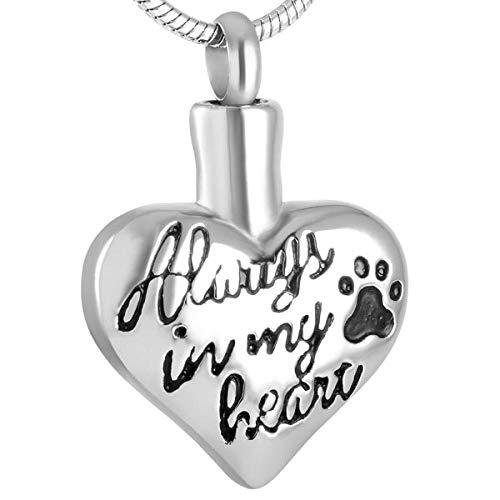 OPPJB Collar De Cenizassiempre En Mi Corazón Collar De Cremación De Recuerdo con Estampado De Pata DeAcero Soporte para Cenizas De Mascotas Joyería Conmemorativa