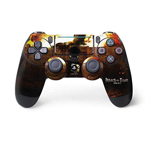 Skinit Decal Gaming Skin for PS4 Pro/Slim Controller - Officially Licensed Funimation Attack On Titan Fire Design