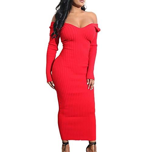 N\P Vestido de punto para mujer, de longitud media, color sólido, para mujer