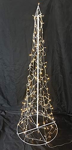 HiLight LED Metall Weihnachtsbaum mit 8 Leuchtfunktionen und 200 warmweißen LEDs 155cm hoch Metall Tannenbaum Christbaum Lichterbaum Kegelbaum mit Lichterketten Indoor und Outdoor warmweiß