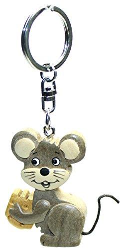 Schlüsselanhänger Maus aus Holz, Schlüssel Anhänger