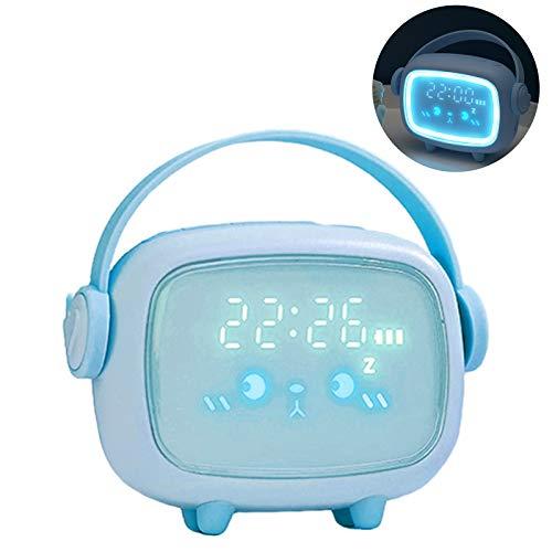 Despertador Infantil, otutun Despertador Digital Infantil con Luz de Noche Pantalla LED, USB Recargable, Función Snooze, Lindo Emoji Silenciosa Relojes Despertador para Niños y Niñas (Azúl)