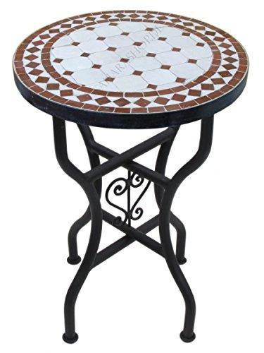 Marokkanischer Mosaiktisch Rund Ø 40 cm Bordeaux-Natur